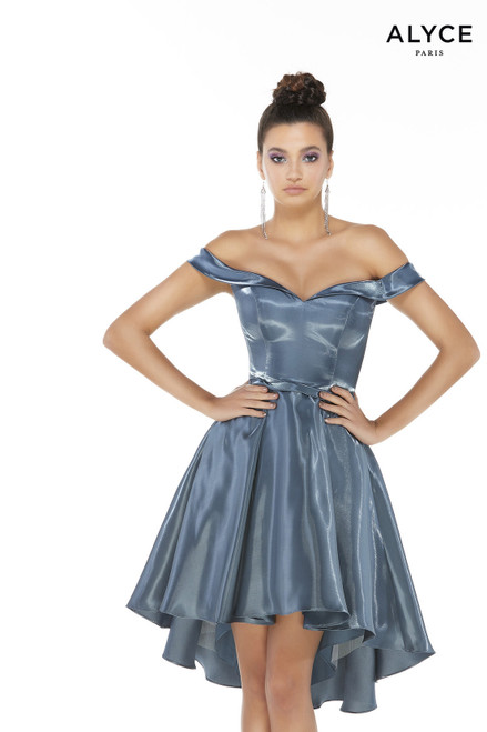 Dark French Blue satin off the shoulder high-low homecoming party dress