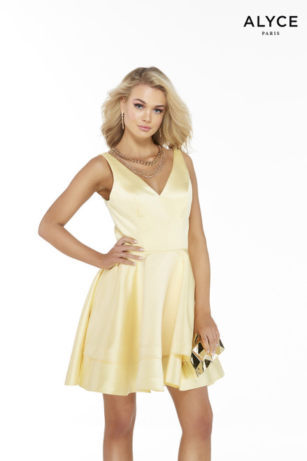 Light yellow satin fit-n-flare homecoming dress with a V-neck and layered skirt