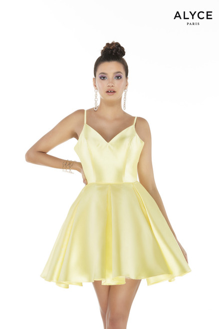 Light Yellow Mikado fit and flare simple homecoming dress with a V-neck and a box pleated skirt