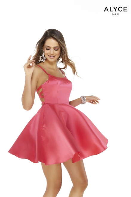 Pink Mikado fit n flare simple short party dress for juniors with a scoop neckline