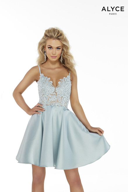 Ice Blue fit and flare semi-formal dress for juniors with a sheer, lace top