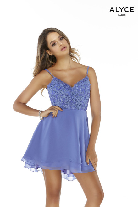 Blue flowy chiffon high-low dress with a V-neck embroidered top and layered skirt