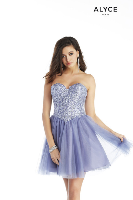 Lavender-Violet short tulle corset dress with an embroidered bodice