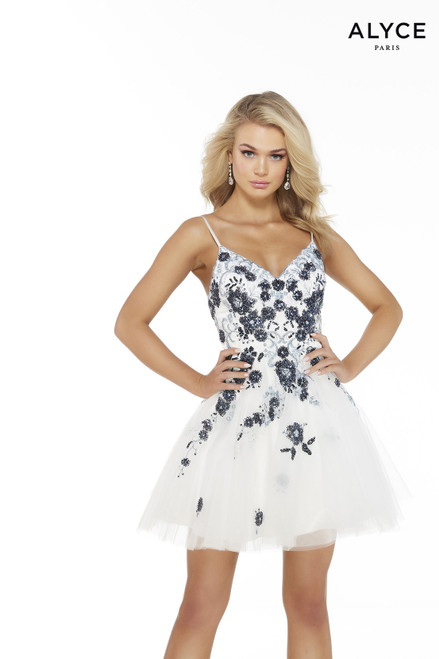 White short tulle dress with a V-neck and beaded floral details
