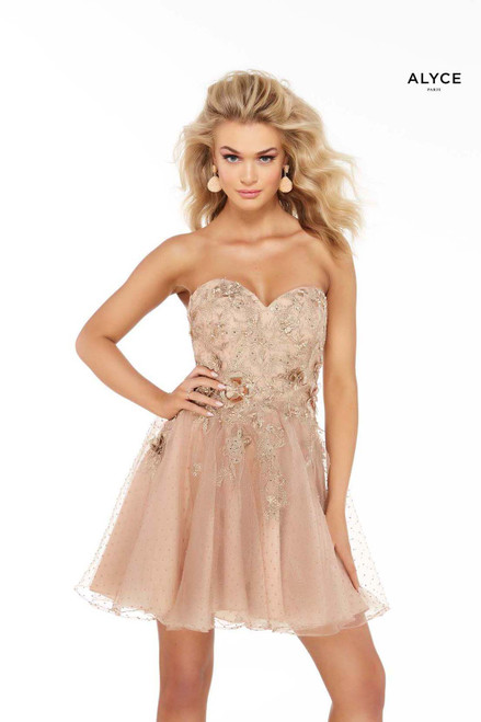 Tan strapless homecoming party dress with floral embroidery