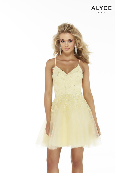 Light Yellow tulle homecoming party dress with a V-neck and lace embroidery