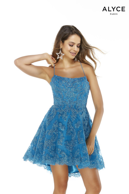 Ocean Blue high-low lace dress for party with a square neckline
