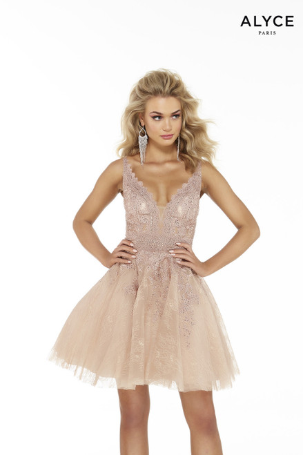 Blush tulle short party dress with a plunging neckline and lace embroidery