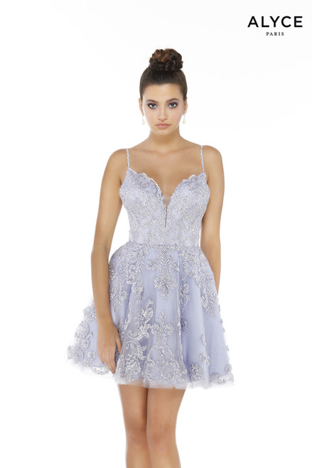 Ice Lilac short semi-formal dress for juniors with a plunging neckline and silver embroidery