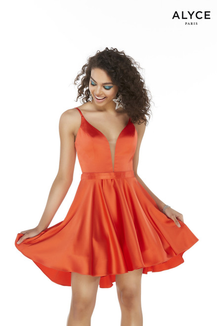 Orange-Red short party dress with a plunging neckline and a matching belt
