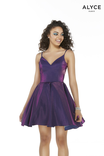 Sleeveless Bright Purple box-pleated short homecoming party dress with a v-shaped neckline