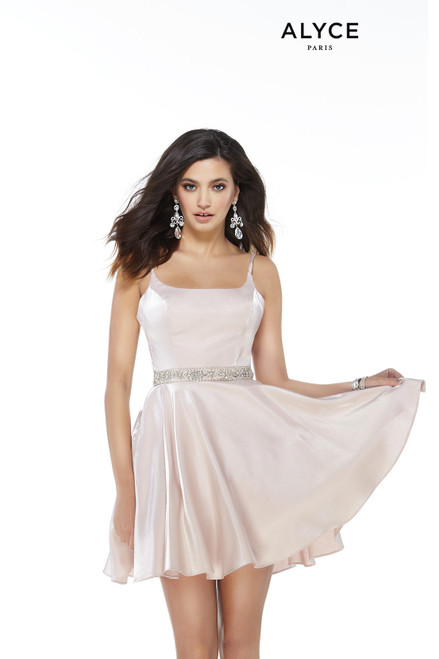 Shimmering French Pink short homecoming party dress with a square neckline and a beaded belt