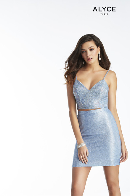 Short sexy Azure Blue two piece cocktail dress with a heat-set stone embellished top
