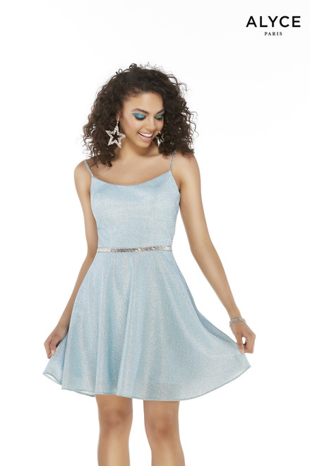 Short sleeveless Light Blue glitter homecoming dress with a scoop neckline and a silver beaded belt