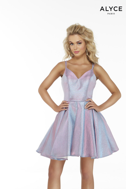 Short Unicorn colored metallic lame box-pleated dress with a v-shaped neckline