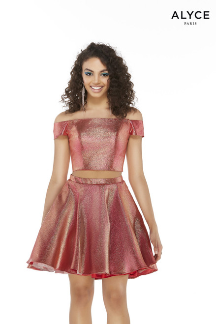 Off-the-shoulder Magenta-Gold colored metallic lame two piece homecoming party dress