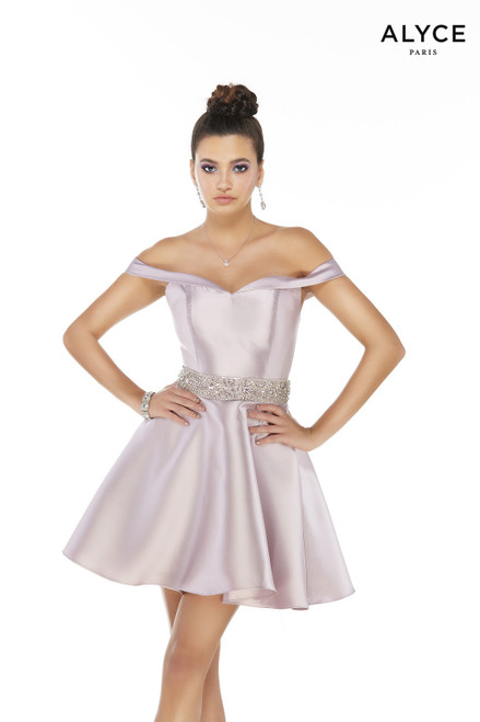 Pink Alabaster off-the-shoulder homecoming party dress with a beaded waistline