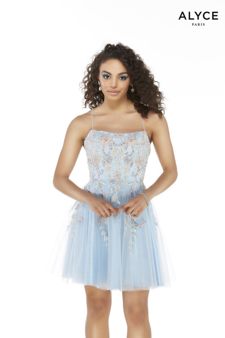 Short embroidered tulle Powder Blue party dress with a square neckline
