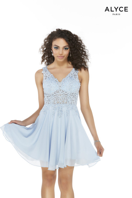Short flowy Glacier Blue semi-formal dress with a V-neck and an illusion lace bodice