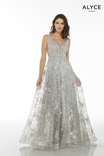 Silver embroidered long tulle formal dress for women with a plunging neckline