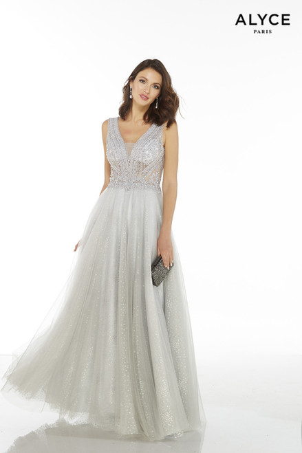 Silver long sparkly tulle formal dress for wedding with an illusion plunging neckline and a sheer, beaded bodice