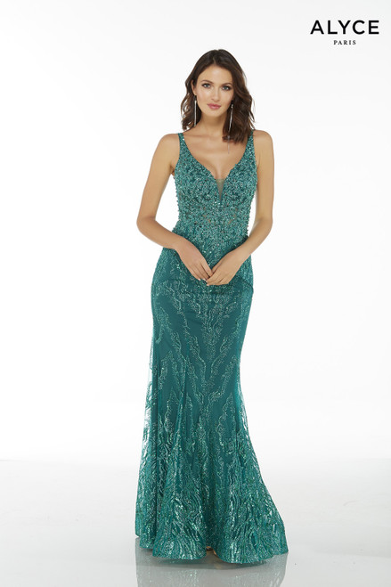 Emerald glitter sequin women's special occasion dress with a plunging neckline