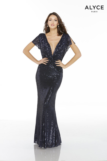 Navy sequin knot draped long dress with a plunging neckline and short sleeves