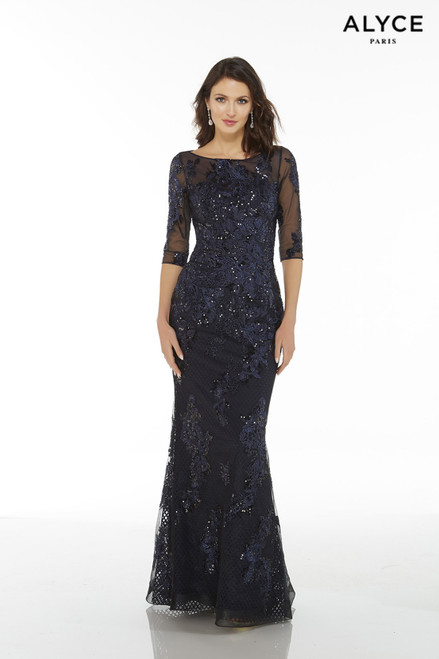 Midnight Blue lace elegant mother of the bride dress with 3/4 sleeves