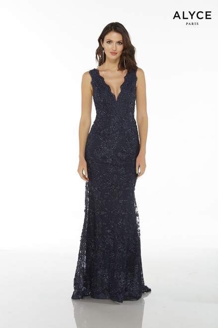 Navy sleeveless long lace mother of the bride dress with a plunging neckline