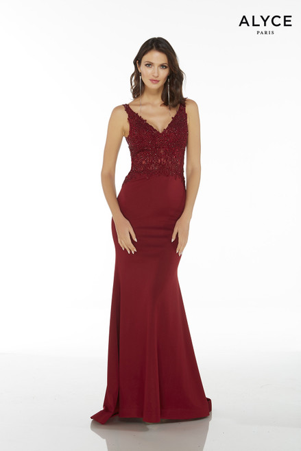 Sleeveless long Wine bodycon guest of wedding dress with a V-neck and a sheer lace bodice