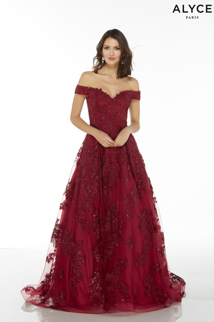 Wine off the shoulder tulle-lace ballgown