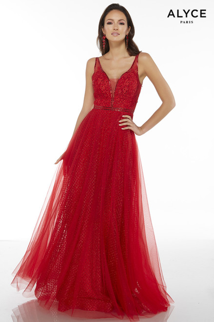 Red glitter tulle evening gown for women with a plunging neckline