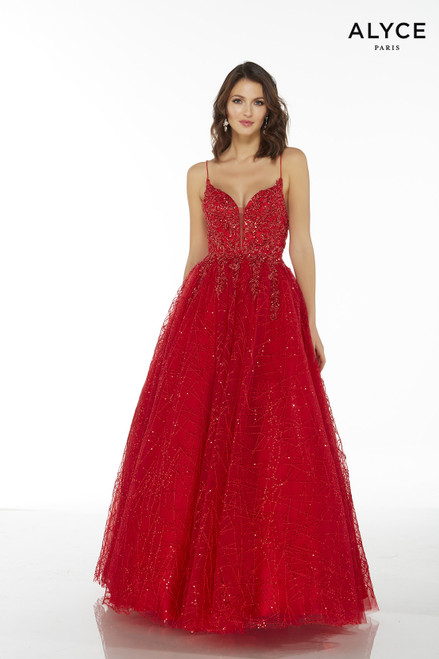 Red embroidered tulle sweetheart ball gown with a plunging neckline