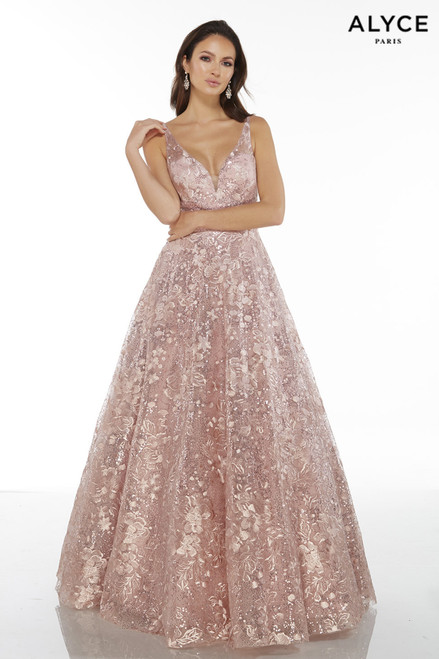 Rose colored sequin lace ball gown with a plunging neckline