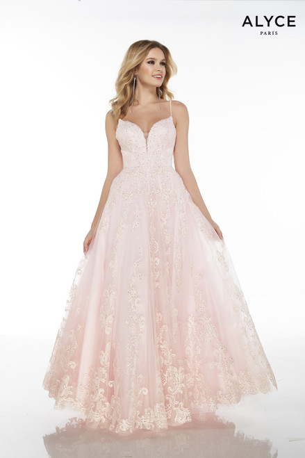Light Pink embroidered tulle evening gown for women with a plunging neckline