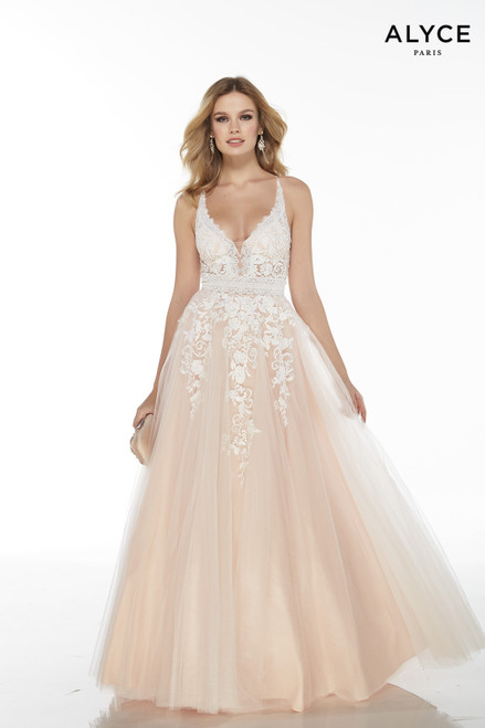 White-Rose embroidered tulle ball gown