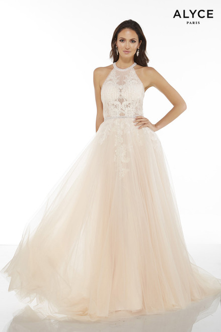 Shell colored tulle-lace informal wedding dress with halter neckline and a sheer bodice
