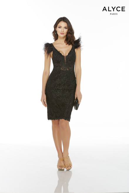 Black knee length sexy lace cocktail dress with a plunging neckline, sheer bodice, and feather cap sleeves