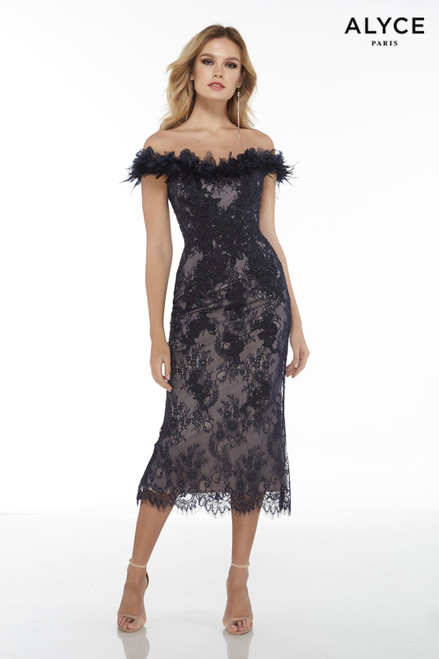 Navy-Nude sexy off the shoulder lace midi dress with a feather neckline