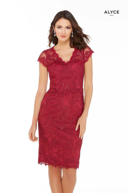 Dark red lace knee length designer mother of the bride dress with a V-neckline and cap sleeves