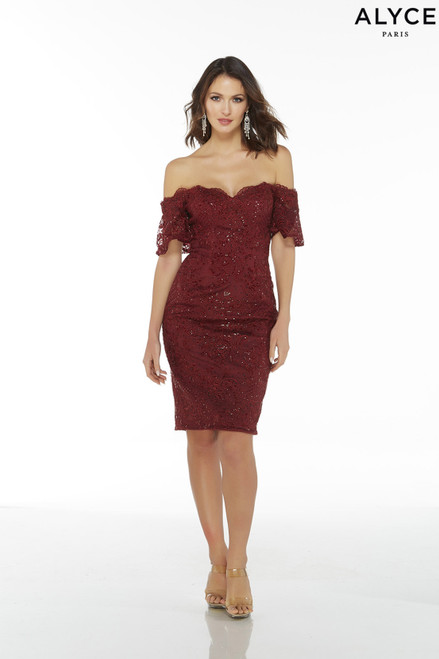 Burgundy lace knee length sexy wedding guest dress