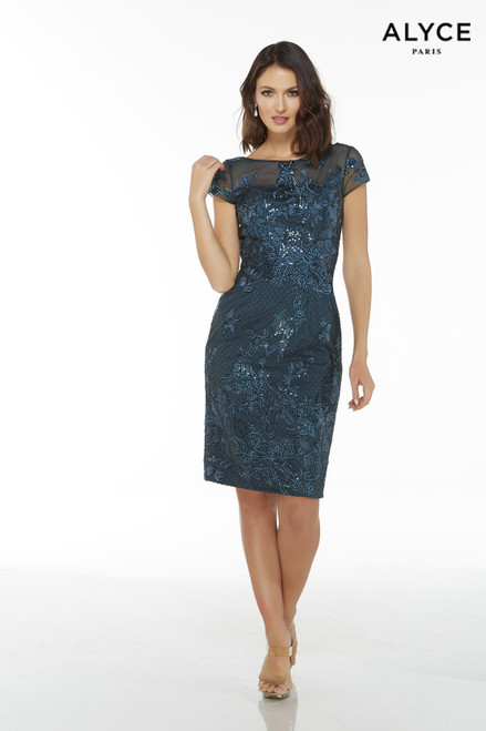 Dark Blue-Green short lace elegant mother of the bride dress with cap sleeves