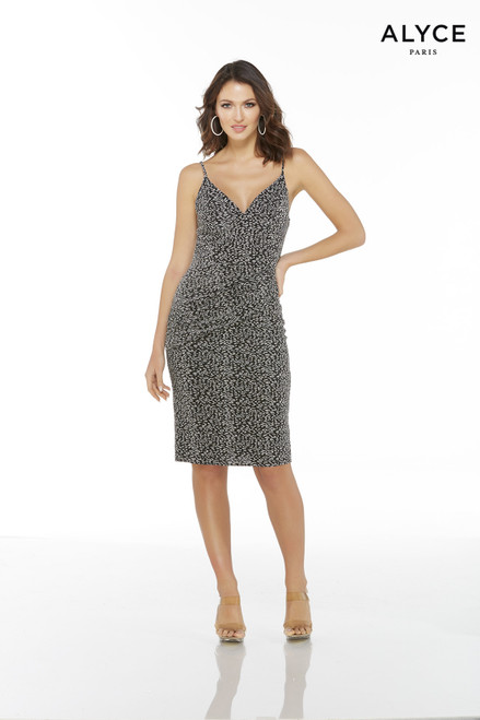 Black and Silver cheetah print cocktail dress with a V-neck