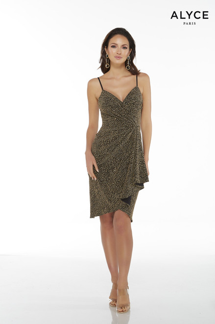 Black and Gold cheetah print cocktail dress with a pleated bodice and a waterfall skirt
