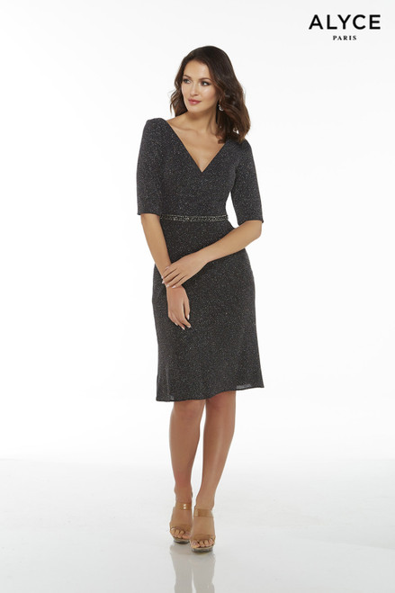 Black-Multi textured jersey knee length guest of wedding dress with sleeves and a V-neck