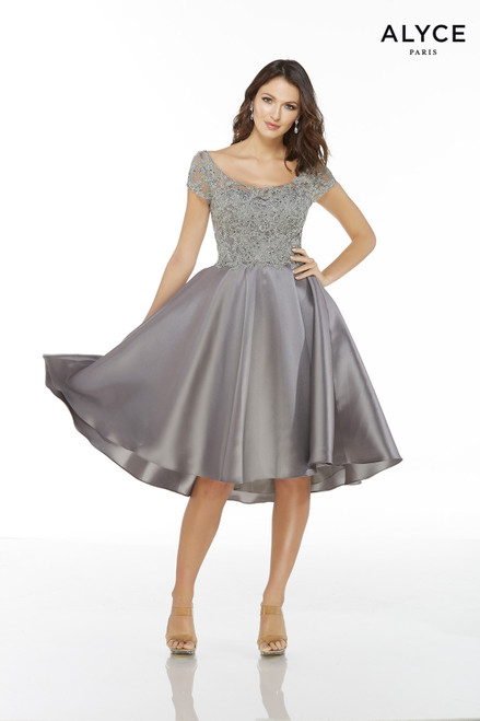 Grey Mikado high-low elegant mother of the bride dress with a scoop neck, lace bodice, and short sleeves
