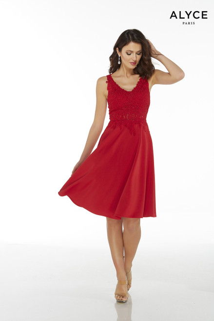 Red luxe jersey fit and flare cocktail dress for women with a V-neck, lace bodice