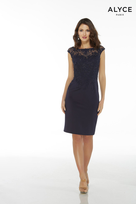 Navy luxe jersey fitted cocktail dress with a lace bodice and cap sleeves