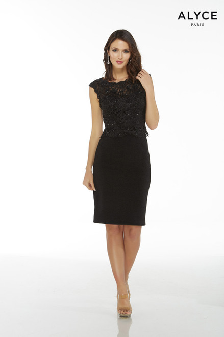 Black luxe jersey knee length cocktail dress with cap sleeves and a lace peplum top