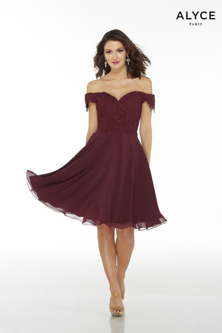Short Black Cherry flowy chiffon off the shoulder mother of the groom dress with a lace bodice